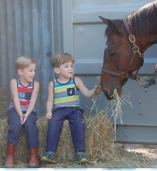 Wesley, left, and Samuel Strain offer Max a special treat. Hay is stored in a shipping container that was generously donated by Addie Turner of Atlas Sales and Leasing.