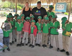 Cheryl and Chad Blake bring school supplies, sports equipment, toys and candy to a school in Cap Cana, Dominican Republic.